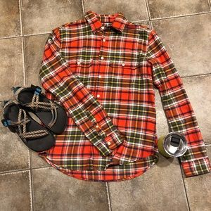Orange and Olive Plaid Flannel Button-down Top